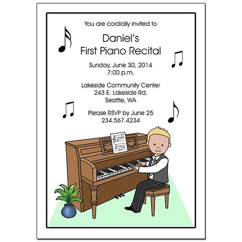 Piano Recital or Party Invitations - Boy
