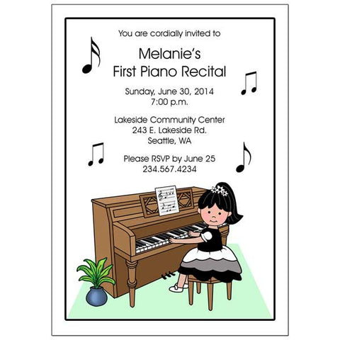 Piano Recital or Party Invitations - Girl