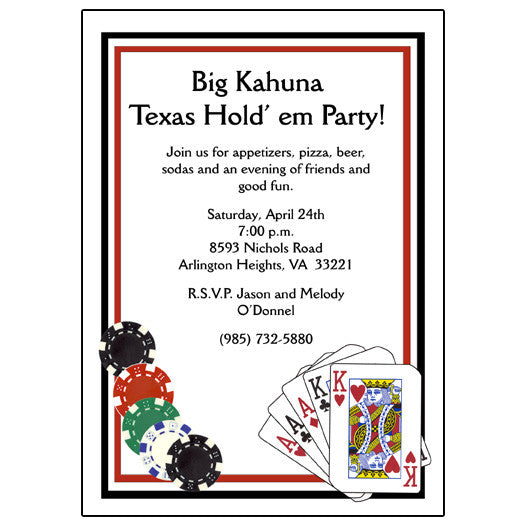 Poker or Texas Hold Em Party Invitations