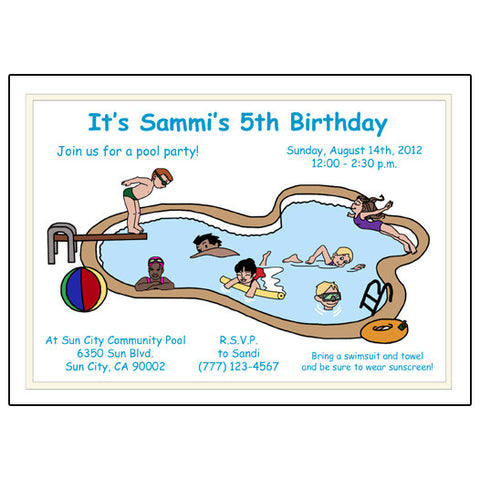 Swimming or Pool Party Birthday Party Invitation