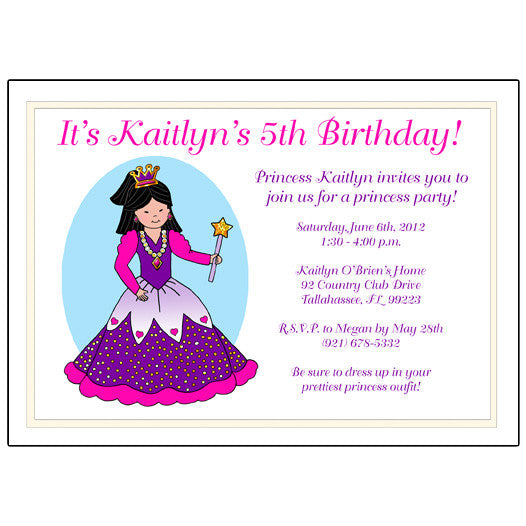 5th Birthday Party Invites Princess Invitation Mandys Moon Personalized Gifts
