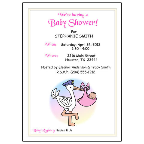Pastel Stork Baby Shower Invitation