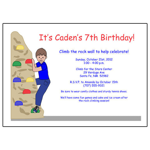 Rock Climbing Birthday Party Invitation - Boy