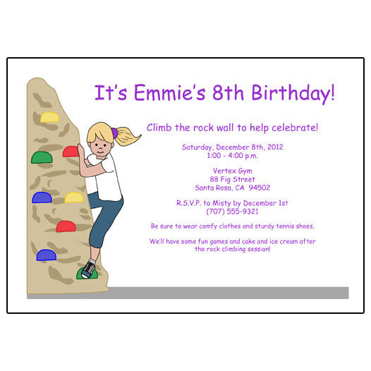 Rock Climbing Kids Birthday Party Invitations for Girls