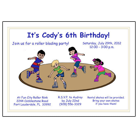 Roller Skating Birthday Party Invitation Rink Design Mandys – Roller Skating Birthday Party Invitations