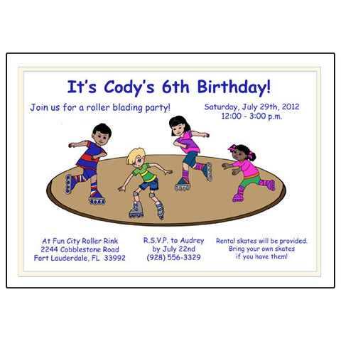 Roller Skating Birthday Party Invitation - Rink Design