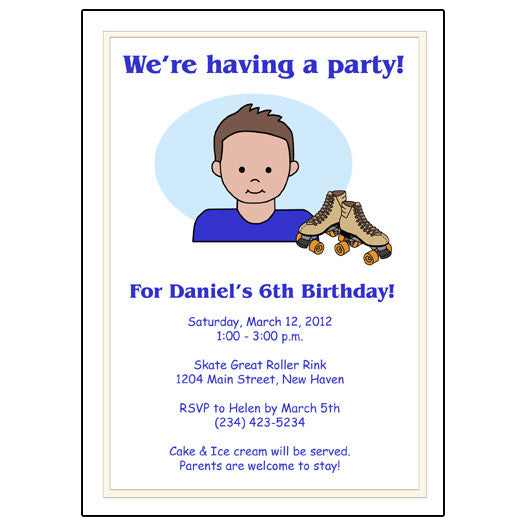Roller Skating Kid Birthday Party Invitation - Boy