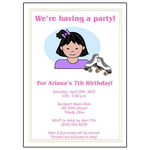 Roller Skating Kid Birthday Party Invitation - Girl