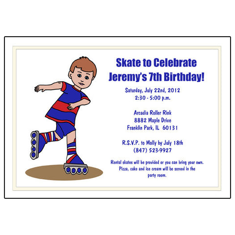 Roller Skating Birthday Party Invitation - Boy