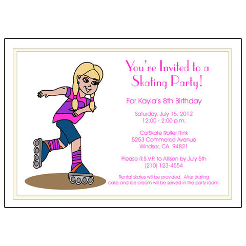 Roller Skating Birthday Party Invitation - Girl