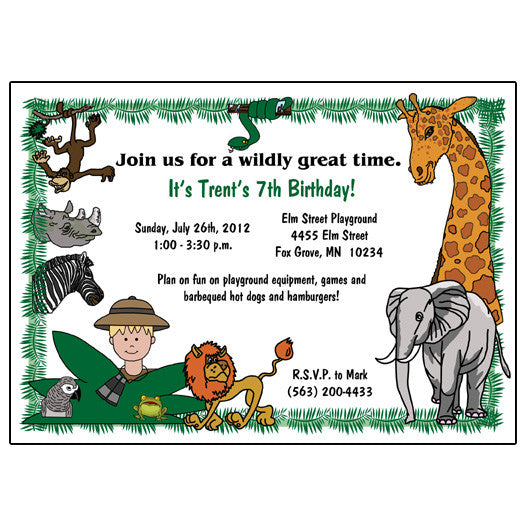 Jungle or Safari Birthday Party Invitation - Boy