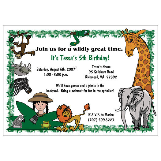 Jungle or Safari Birthday Party Invitation - Girl
