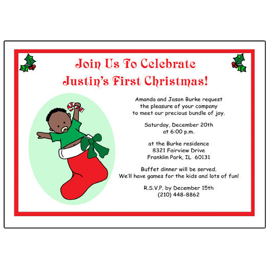 Baby Boy in Stocking Christmas Party invitation