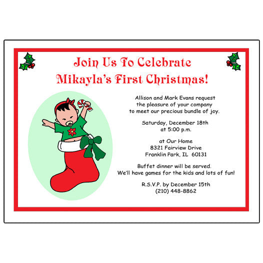 Baby Girl in Stocking Christmas Party Invitation
