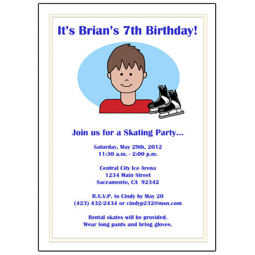 Ice Hockey Ice Skating Kid Birthday Party Invitation Boy