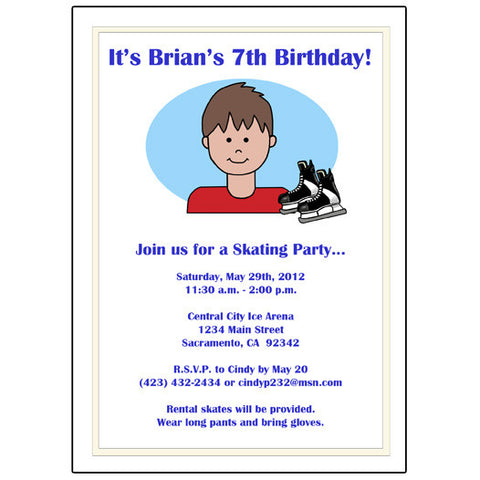 Ice Skating Kid Birthday Party Invitation - Boy