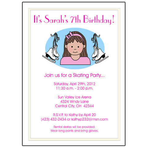Ice Skating Kid Birthday Party Invitation - Girl