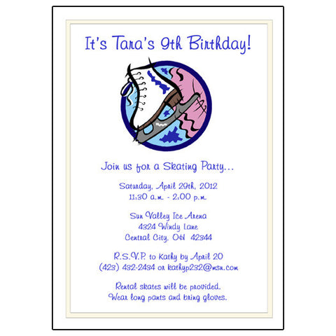 Ice Skate Birthday Party Invitation