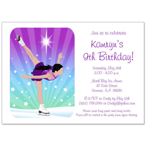 Ice Skating Dreams Birthday Party Invitation