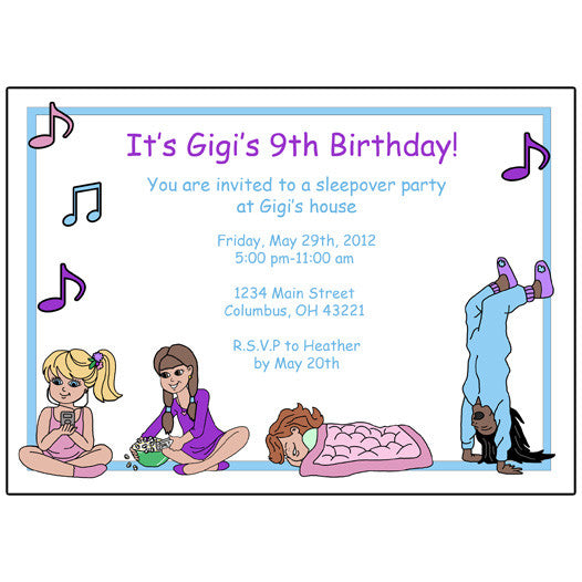 Sleepover Birthday Party Invitation Mandys Moon Personalized Gifts – Sleepover Birthday Party Invitations
