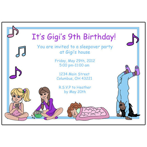 Sleepover Birthday Party Invitation for girls, personalized