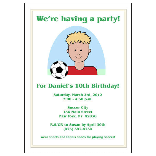 Soccer Kid Birthday Party Invitation - Boy
