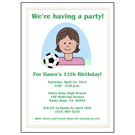 Soccer Kid Birthday Party Invitation - Girl