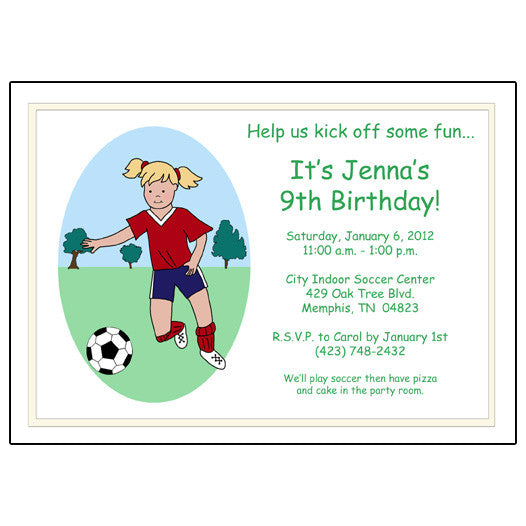 Soccer Player Birthday Party Invitation - Girl