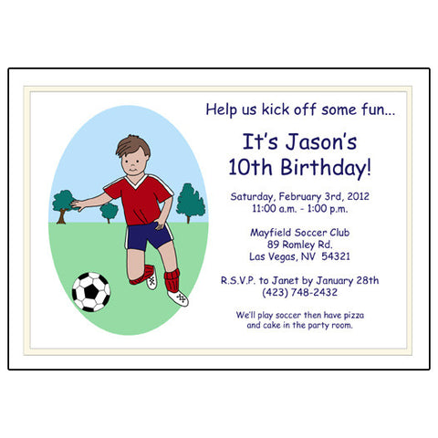 Soccer Player Birthday Party Invitation - Boy