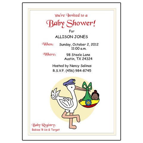 Adoption Stork Shower Invitation - Africa & Caribbean