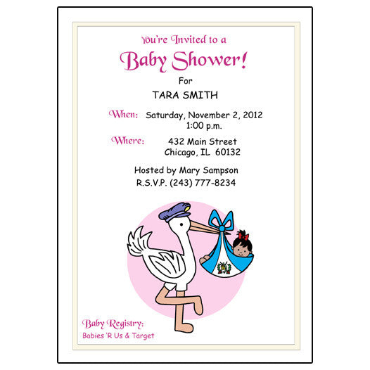 Adoption Stork Shower Invitation - North, Central & South America