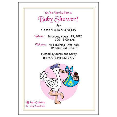 Adoption Stork Shower Invitation - Eastern Europe