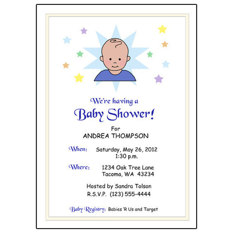 Star Baby Shower Invitation - Boy