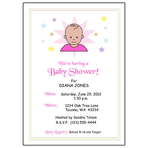 Star Baby Shower Invitation - Girl
