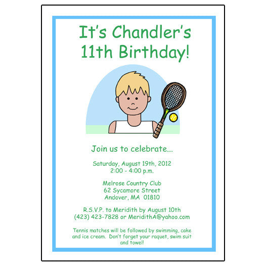 Tennis kid birthday party invitation boy mandys moon tennis kid birthday party invitation boy mandys moon personalized gifts filmwisefo