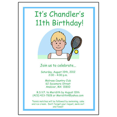 Tennis Kid Birthday Party Invitation - Boy