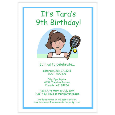 Tennis Kid Birthday Party Invitation - Girl
