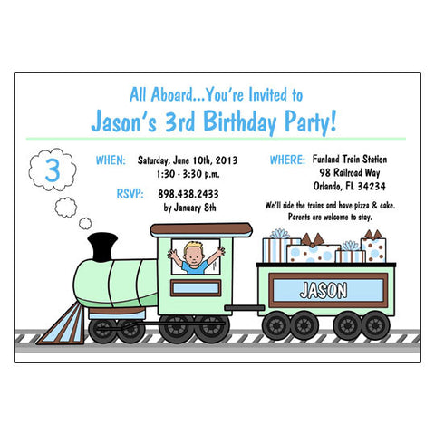Train Birthday Party Invitations - Boy
