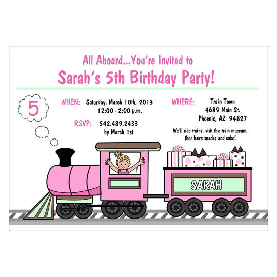 Train Birthday Party Invitations - Girl