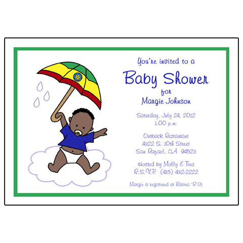 International Umbrella Adoption Shower Invitation - Boy