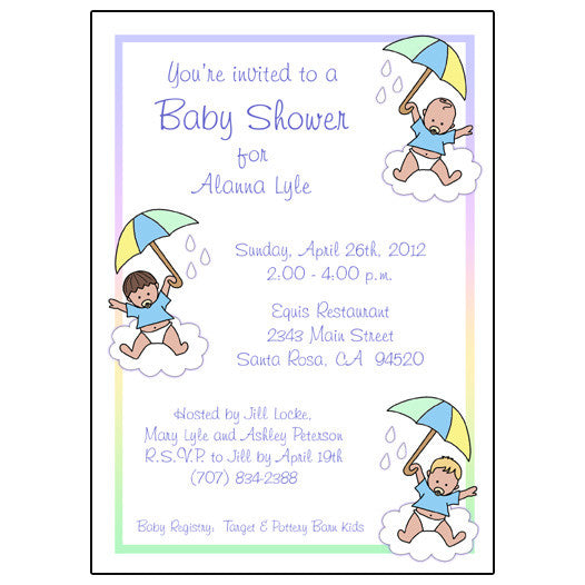 Shower Invitation - Baby Boys with Umbrellas