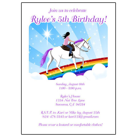 Unicorn Dreams Birthday Party Invitations