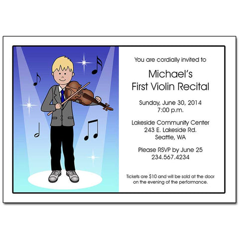 Violin Recital or Party Invitations - Boy