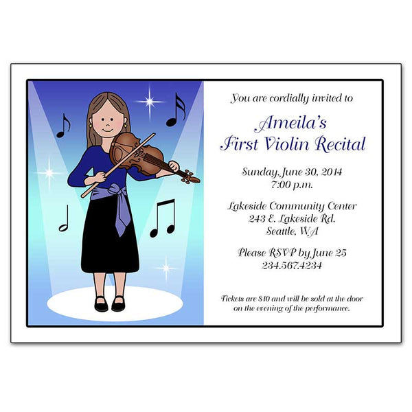 Violin Recital or Party Invitations - Girl
