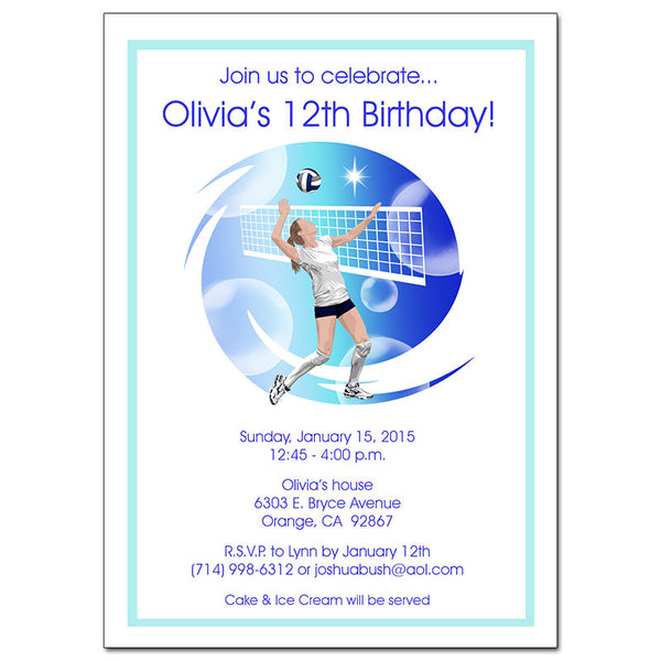 Volleyball Dreams Birthday Party Invitation