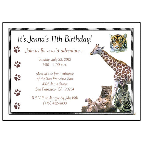 Jungle or Safari Wild Animals Birthday Party Invitation