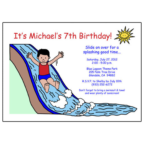 Water Slide Birthday Party Invitation - Boy