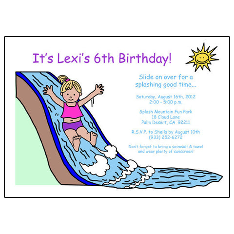 Water Slide Birthday Party Invitation - Girl