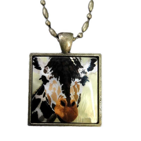 Giraffe Pendant Necklace, Mother of Pearl Jewelry