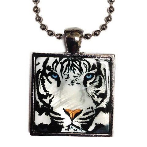 White Tiger Pendant Necklace, Tiger Mother of Pearl Jewelry